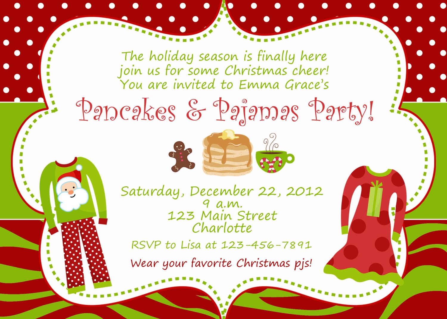 Christmas Pajama Party Invitations – Pancake Party Invitations