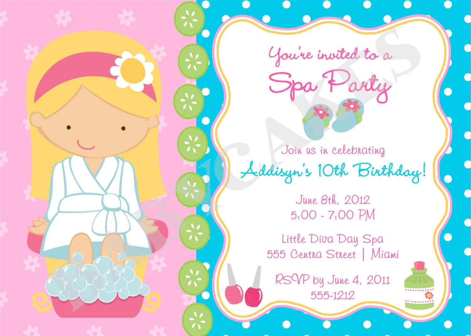 Girls spa birthday party invitations home party ideas girls spa birthday party invitations stopboris