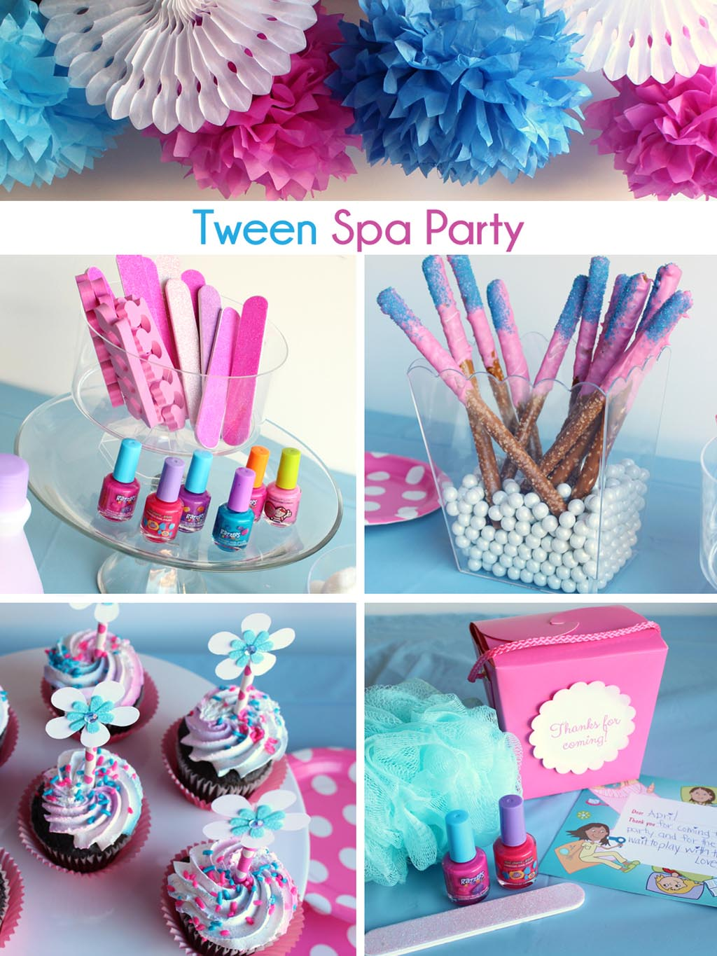 Girls spa party favors home party ideas for Party decorations to make at home