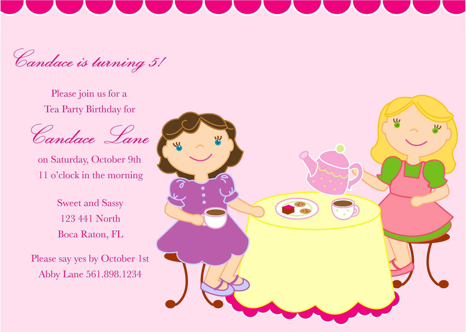 Girls tea party invitation home party ideas girls tea party invitation stopboris Choice Image