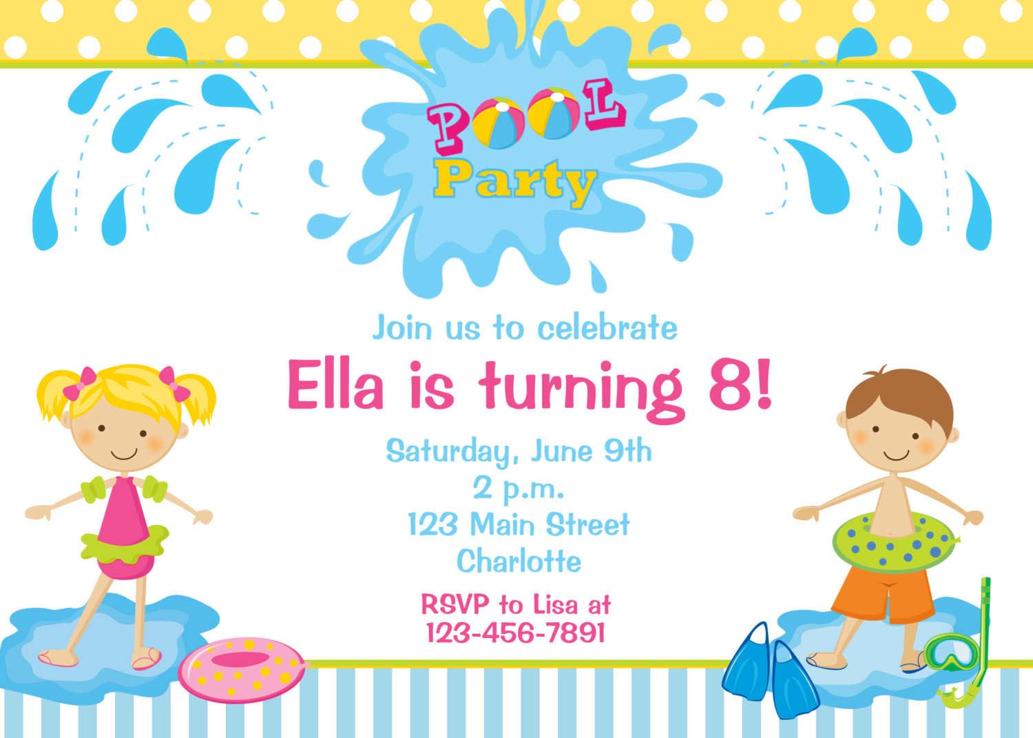Kids Pool Party Invitations | Home Party Ideas