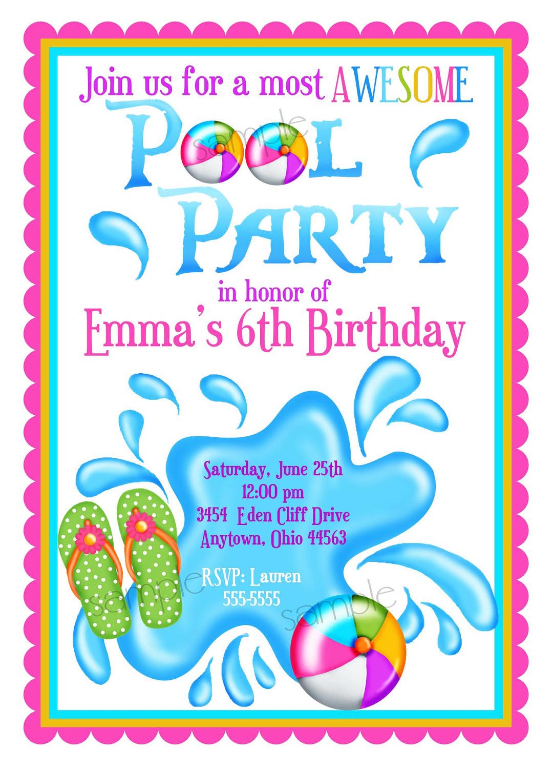Kids Pool Party Invite