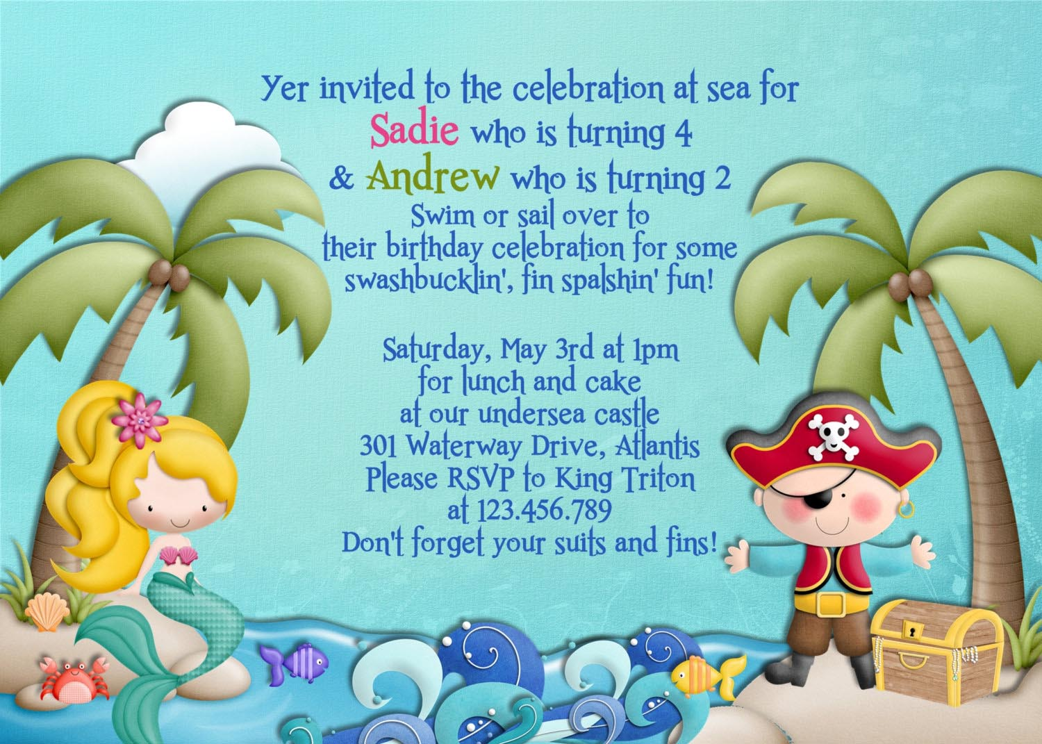 Mermaid Pirate Party Invitations | Home Party Ideas