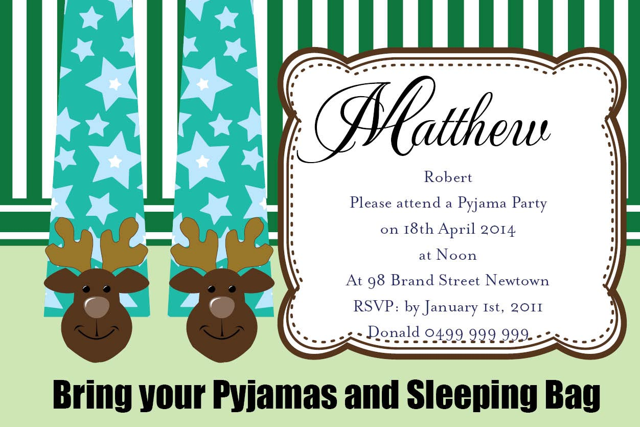 Pajama Birthday Party Invitations – Pajama Party Invites