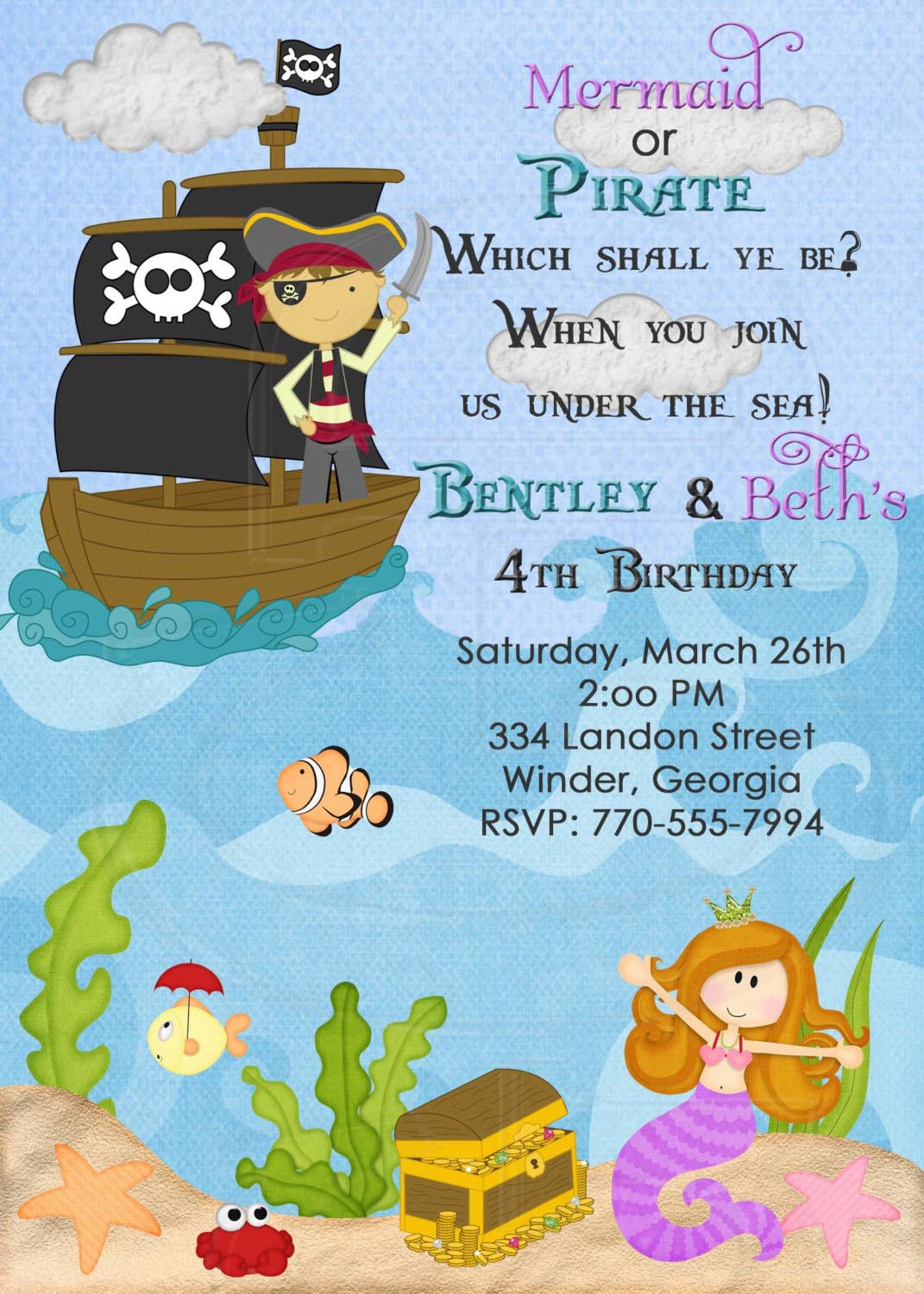 Pirate and Mermaid Party Invitations