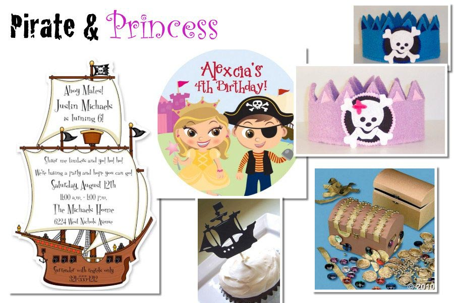 Pirate and Princess Birthday Party Invitations