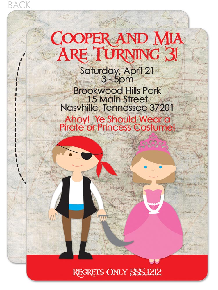 Pirate and Princess Party Invitations Printable
