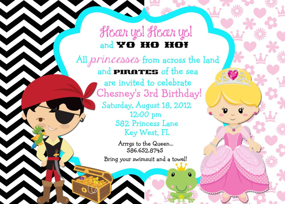 Pirate and Princess Party Invitations