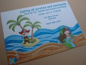 Pirate Mermaid Party Invitations