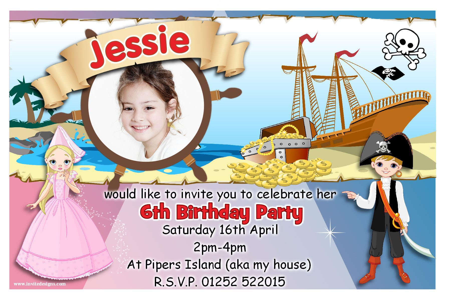 Pirate Princess Party Invitations