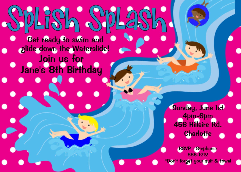 Pool Birthday Party Invitation