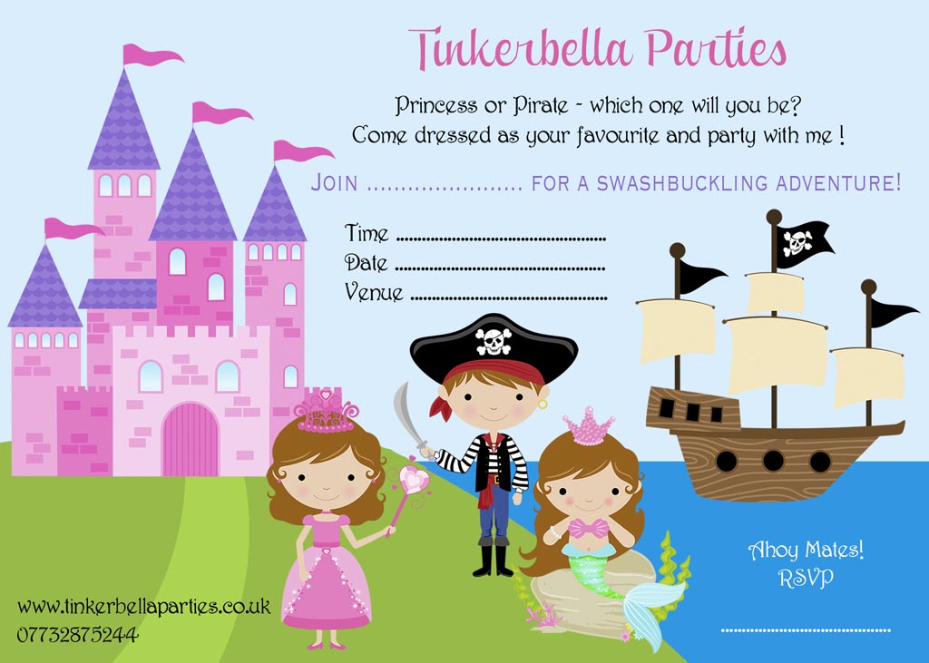 Princess and Pirate Party Invitations