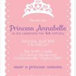 Princess Party Birthday Invitations