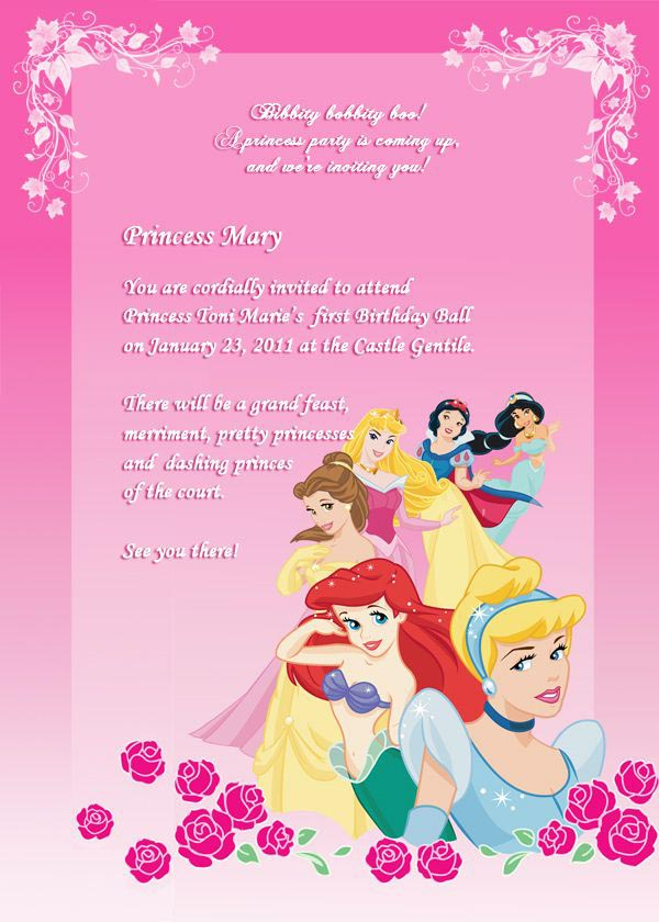 Princess Party Invitations Templates
