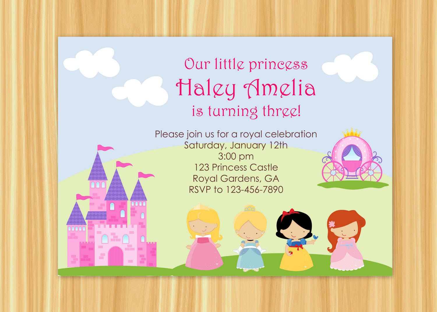 Princess Party Invitation Wording – Cinderella Birthday Invitation Wording