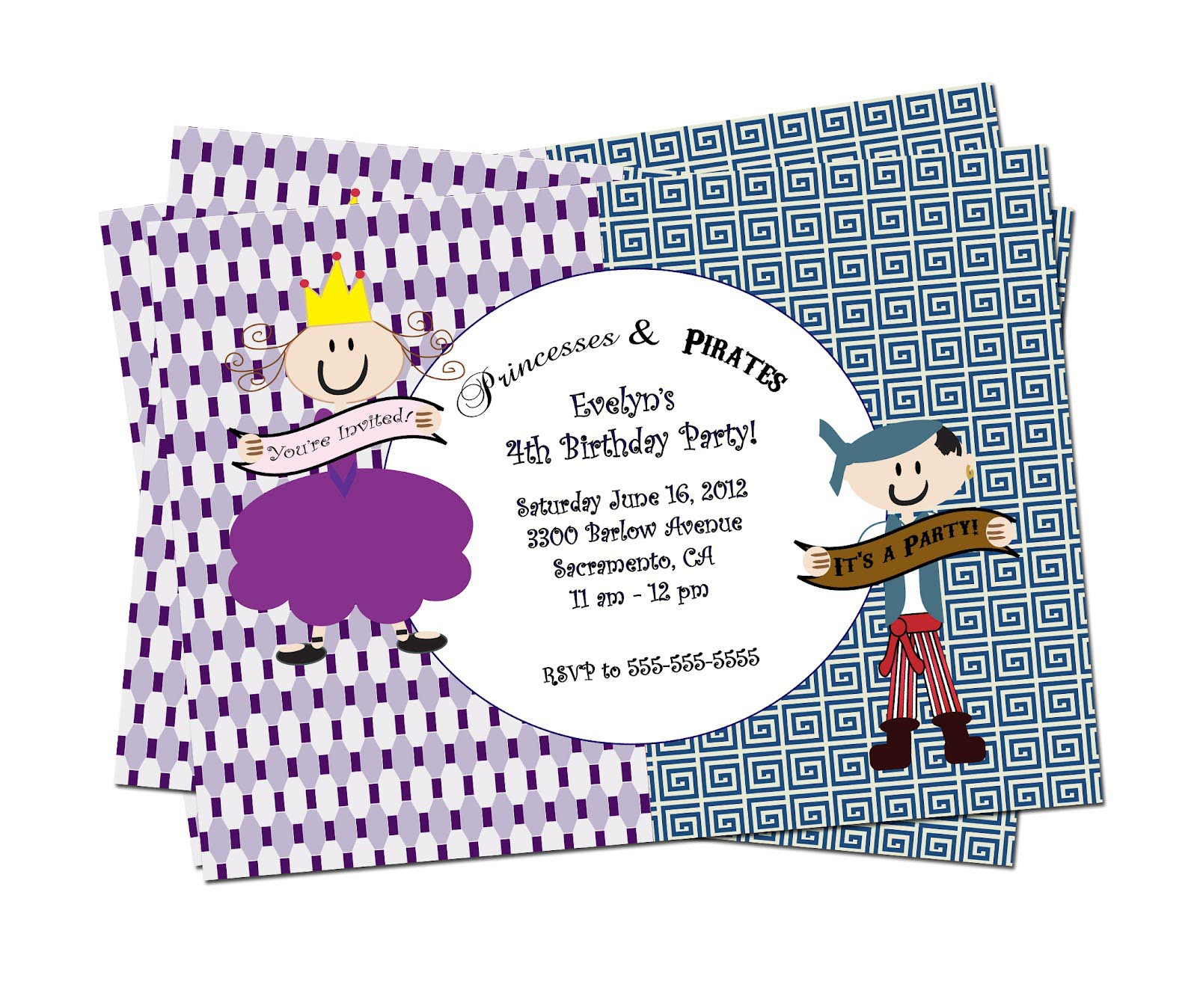 Princess Pirate Party Invitations