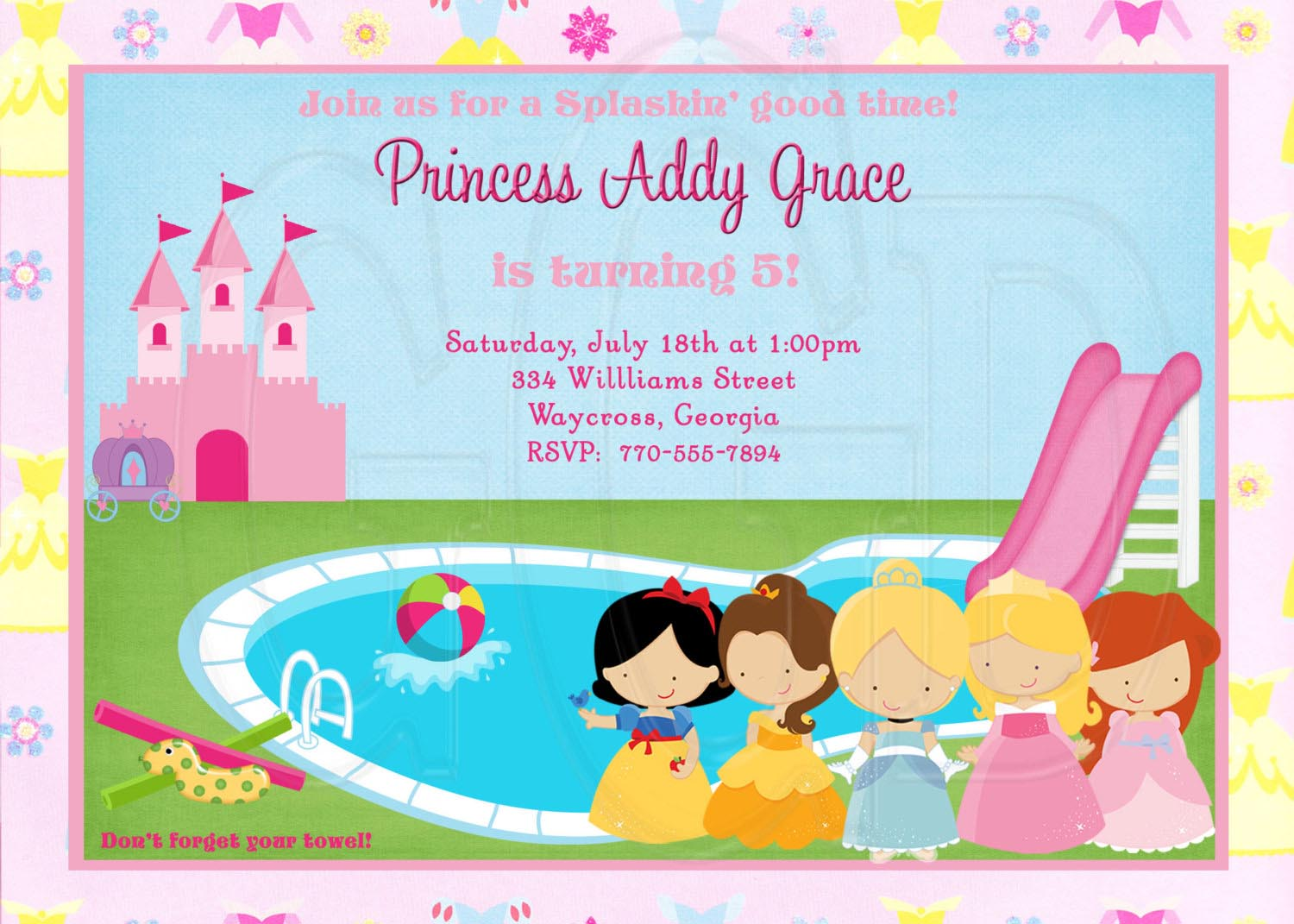 Princess Pool Party Invitations