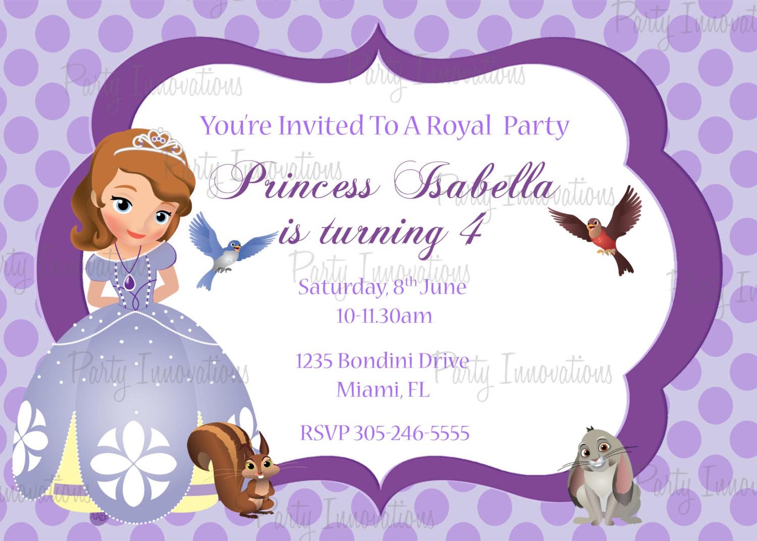 Princess Sofia Party Invitations