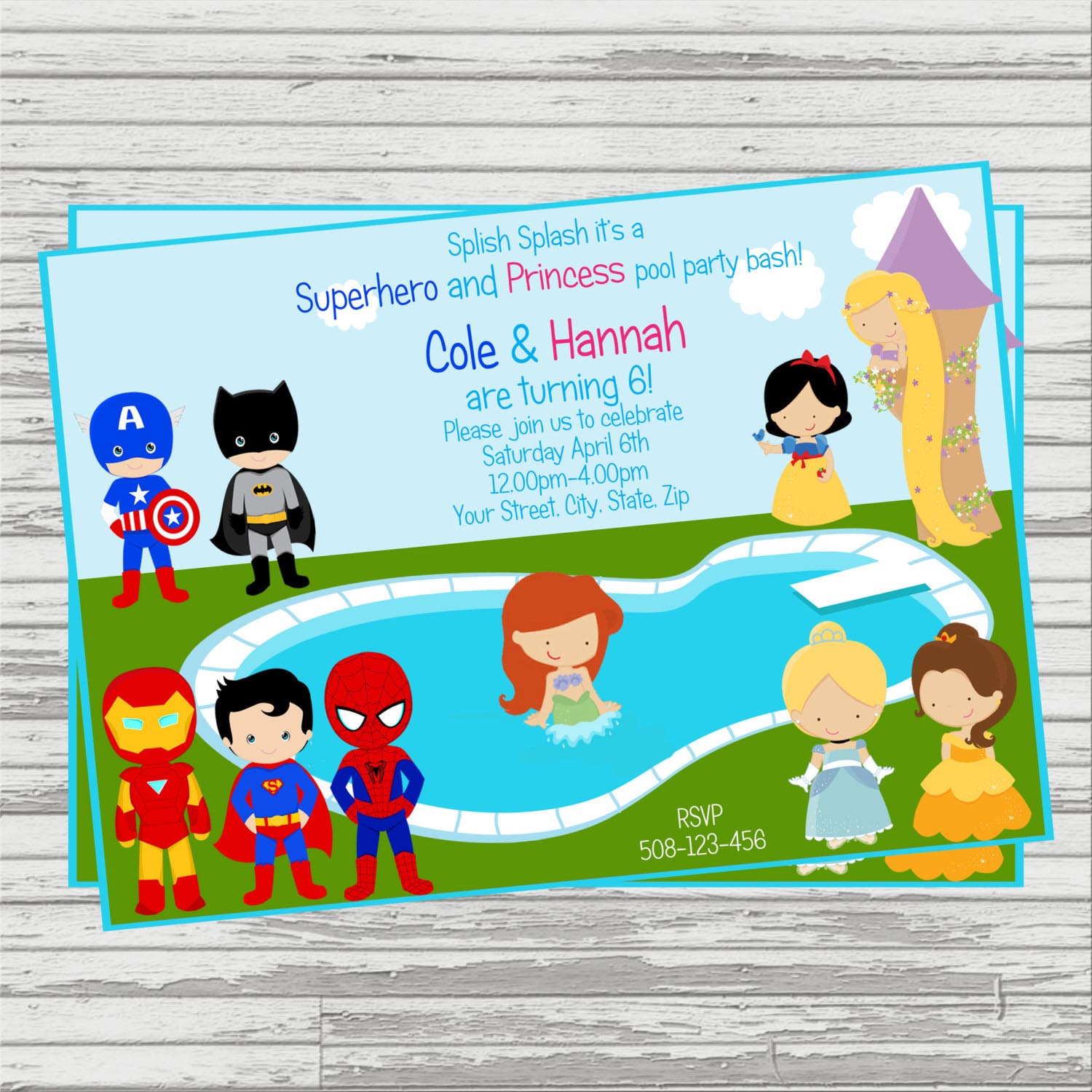 Princess Superhero Party Invitations | Home Party Ideas