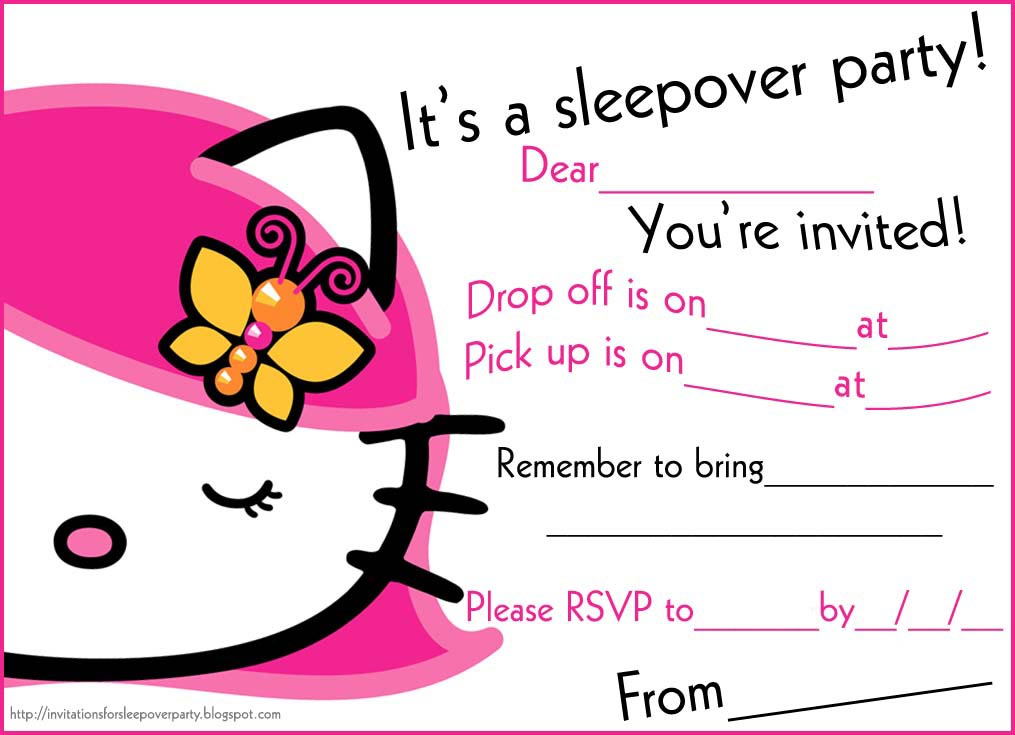 Printable Pajama Party Invitations