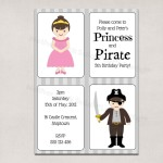Printable Princess and Pirate Party Invitations
