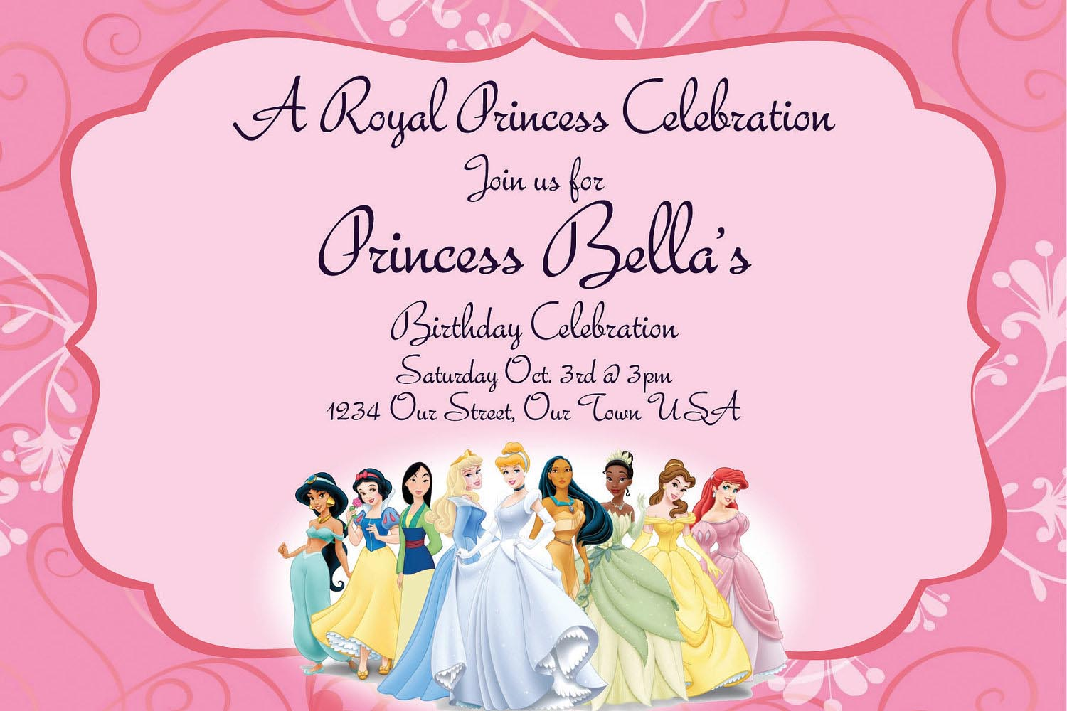 printable princess party invitations home party ideas printable princess party invitations
