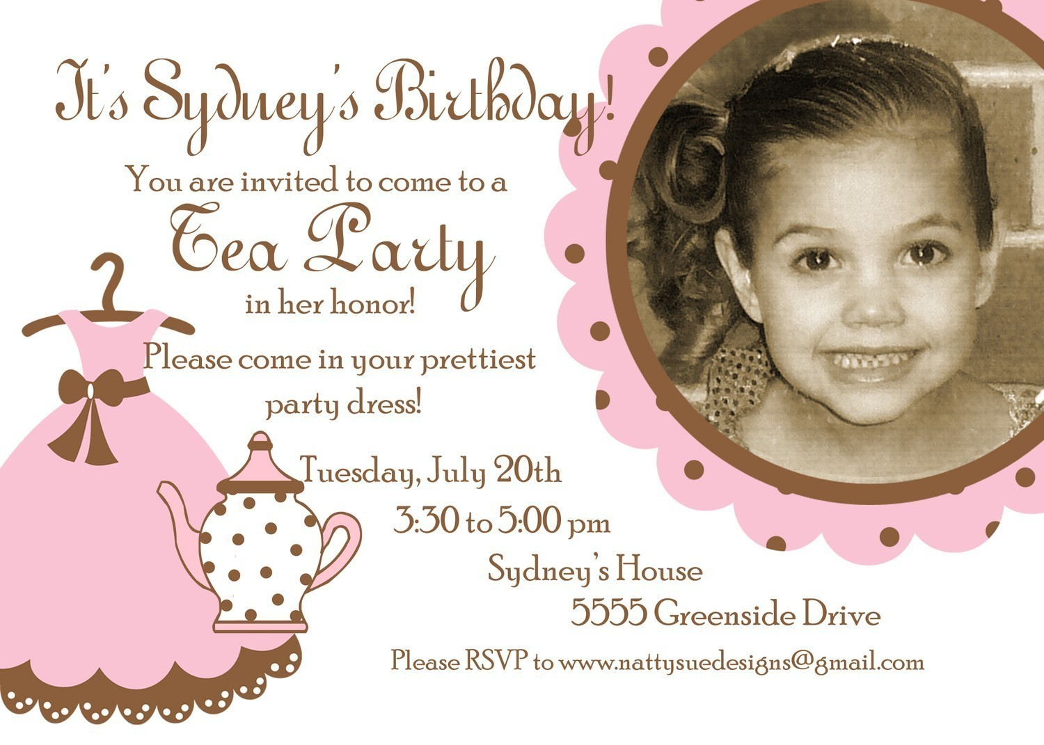 Tea Party Birthday Invitation – Tea Birthday Party Invitations
