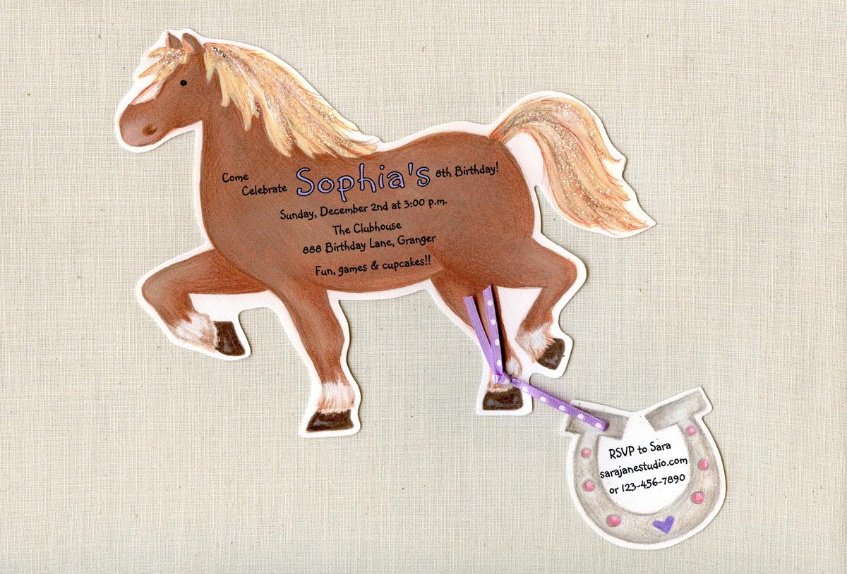 Birthday Party Invitations Horses