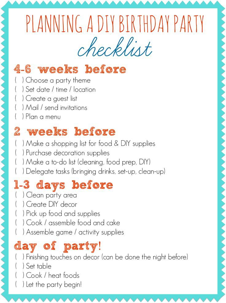 First Birthday Party Planner Checklist