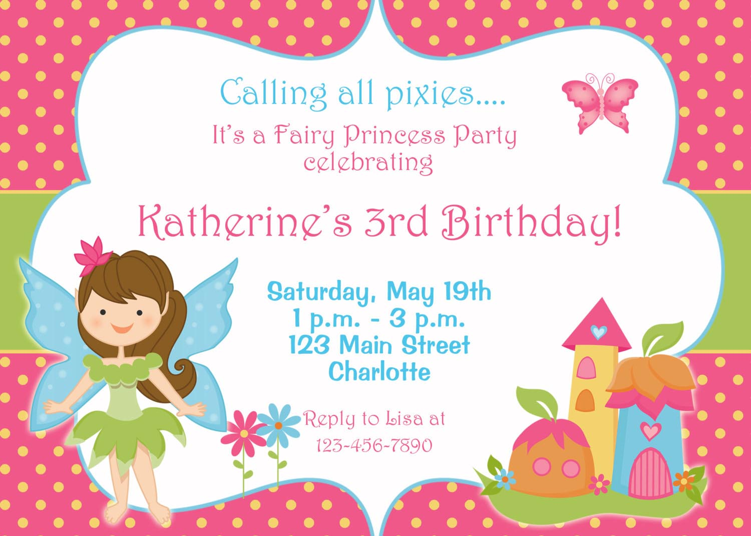 Free Fairy Birthday Party Invitations