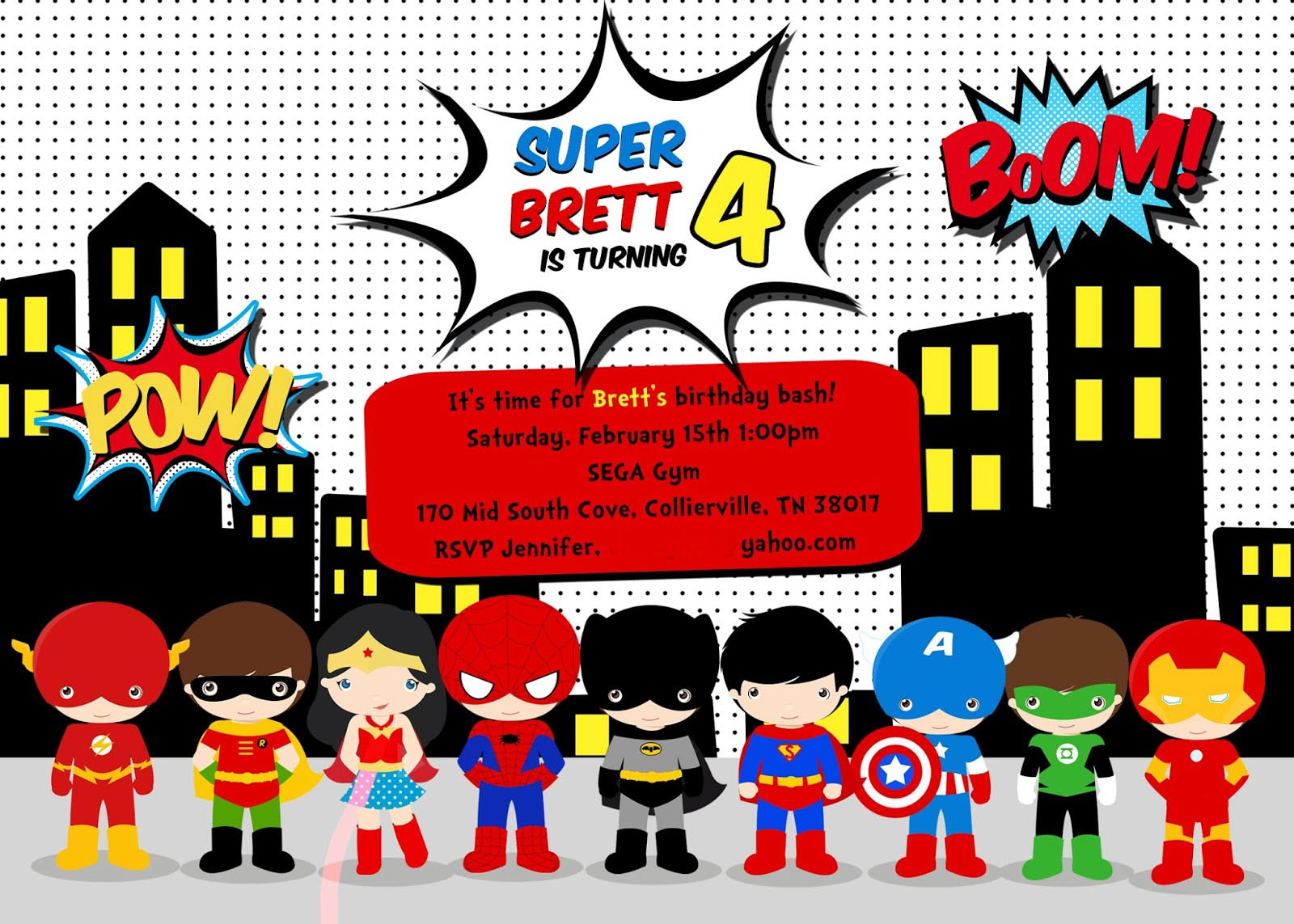 free superhero birthday party invitation templates home party ideas. Black Bedroom Furniture Sets. Home Design Ideas