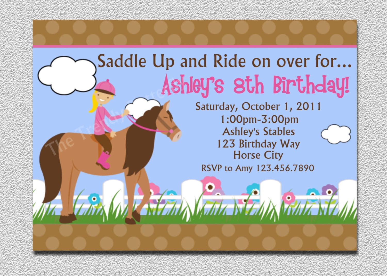 Girl Horse Birthday Party Invitations