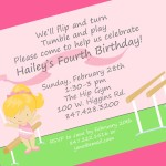 Gymnastics Birthday Party Invitation Wording