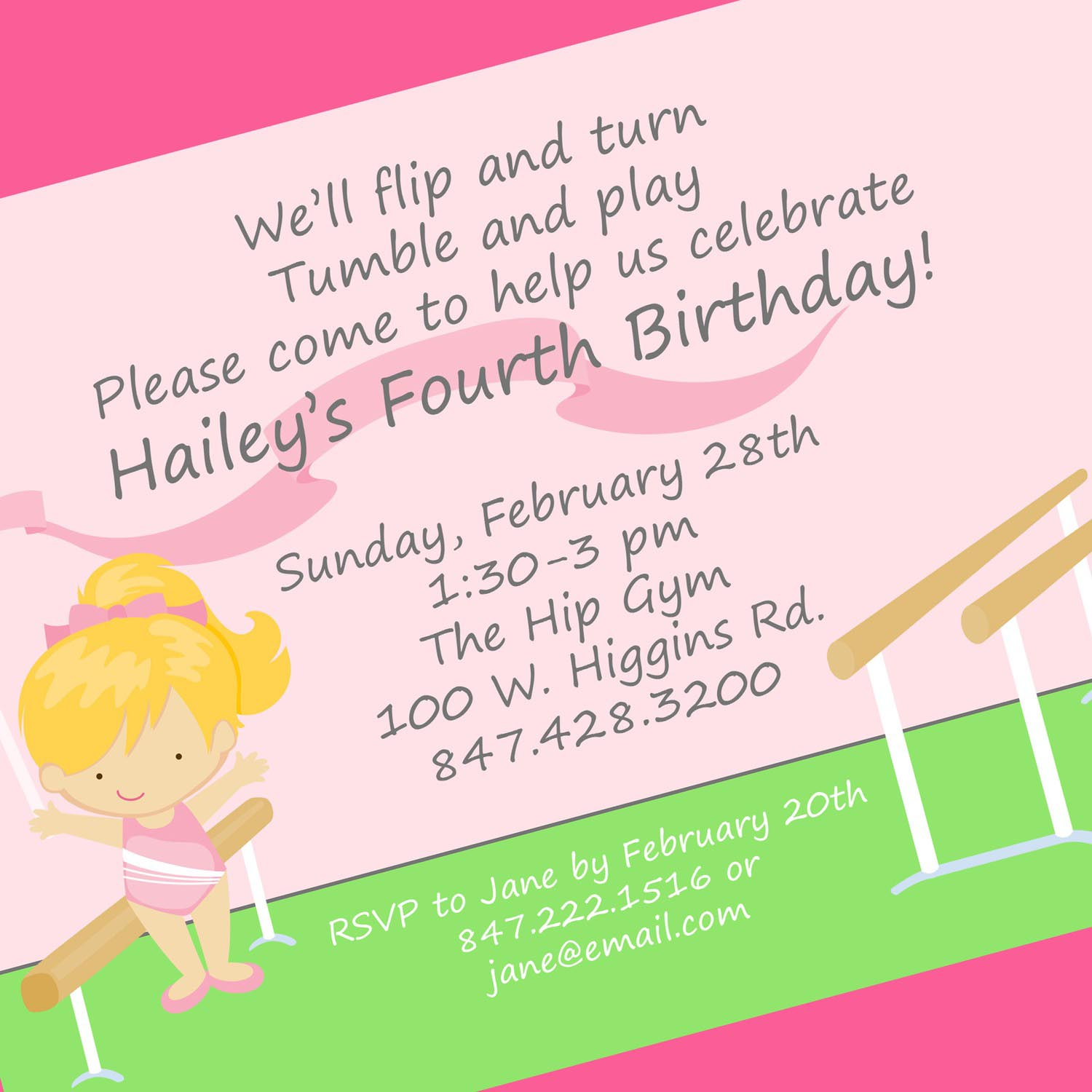Gymnastics Birthday Party Invitation Wording | Home Party Ideas