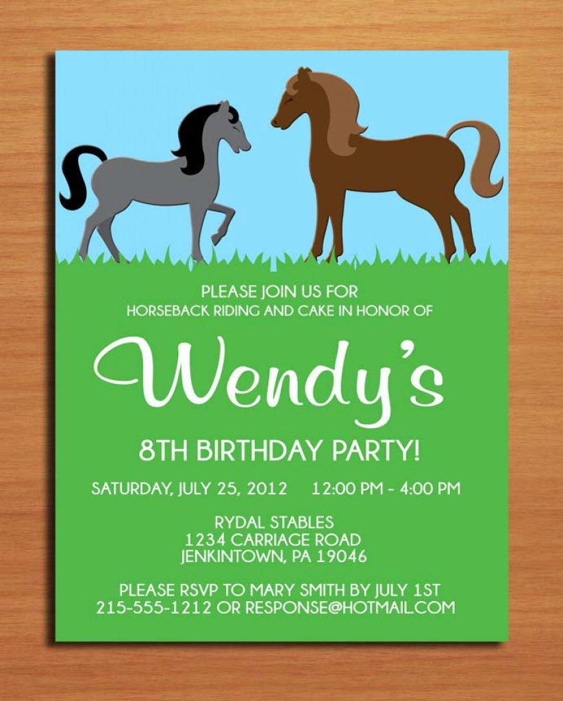 Horse Birthday Party Invitations Printable Free