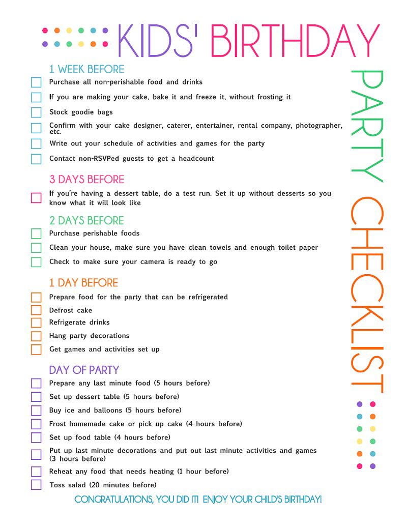 Printable Birthday Party Planner