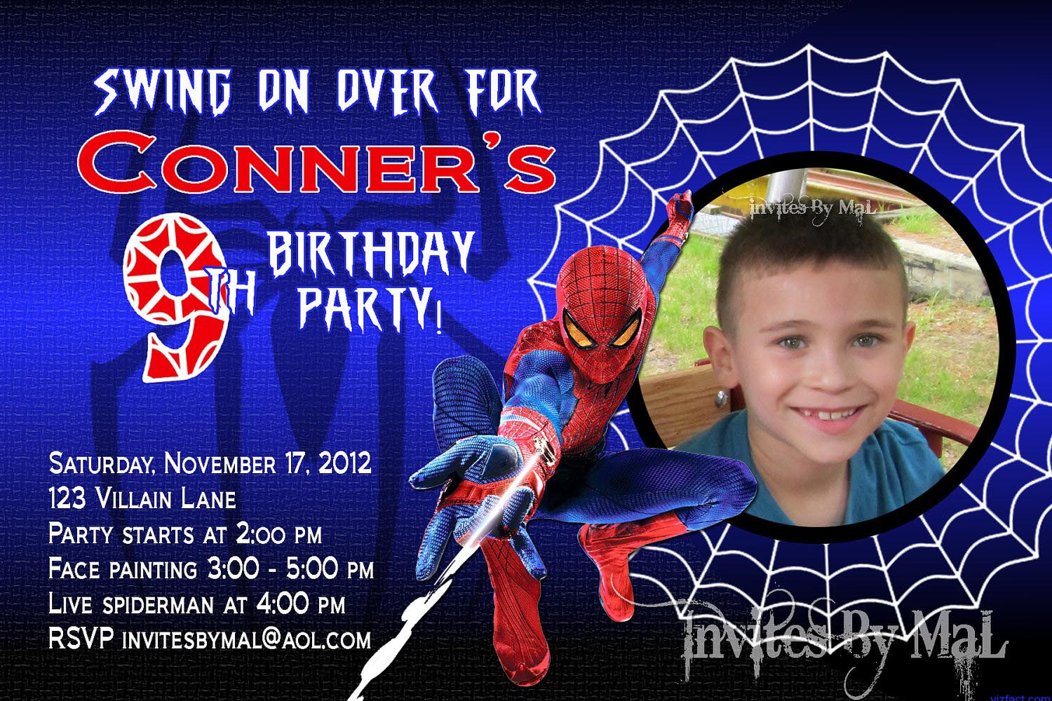 Spiderman Birthday Party Invitation Templates