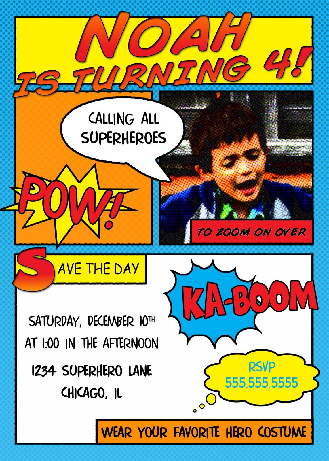 Superhero Birthday Party Invitations Free