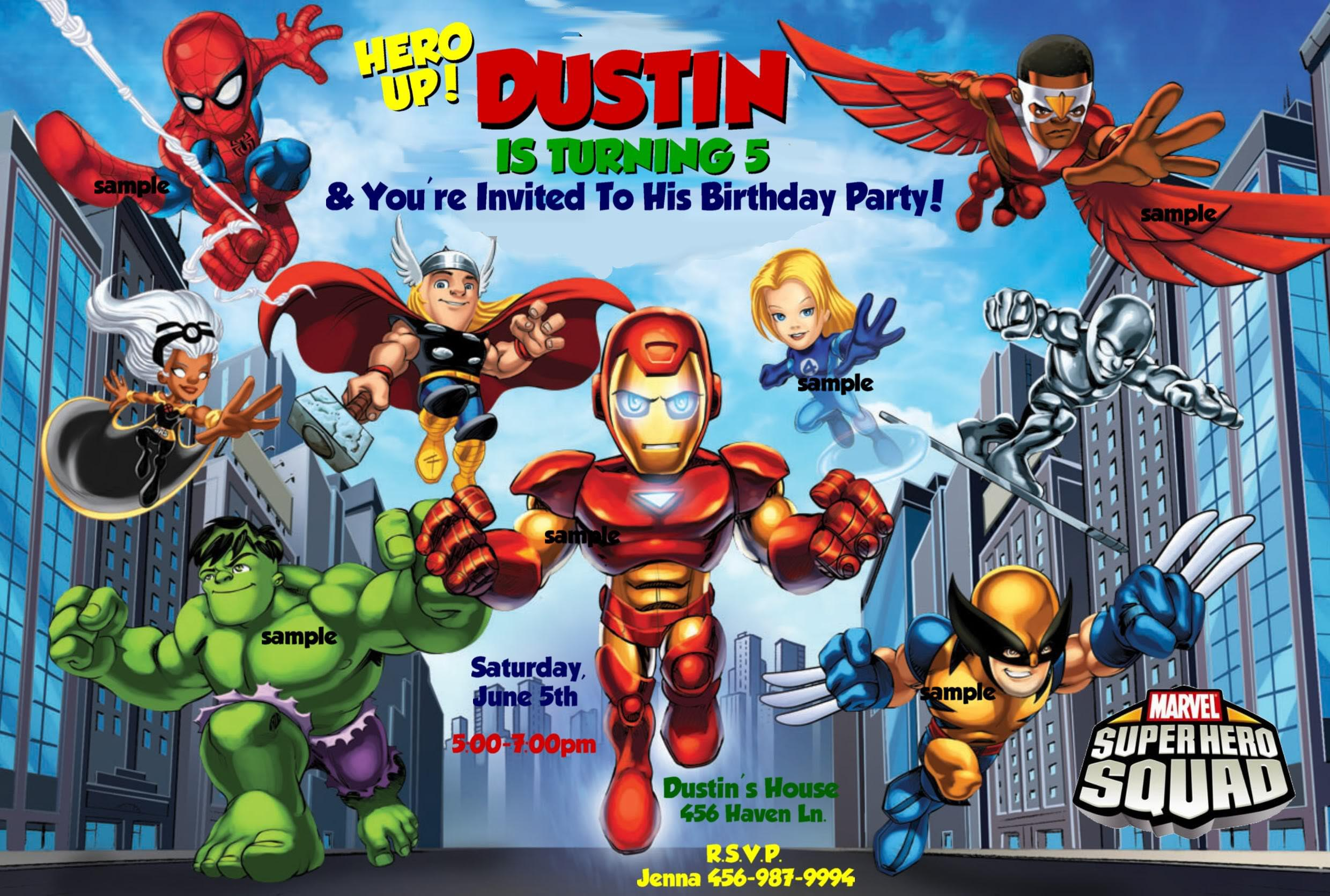 Superhero Themed Birthday Party Invites