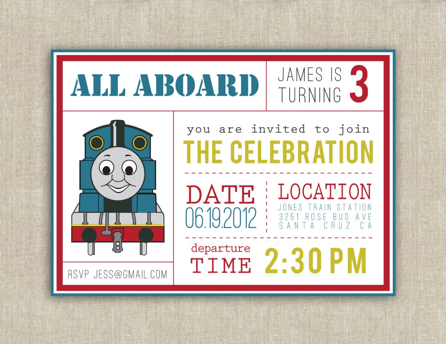 Thomas The Train Birthday Party Invitations – Thomas the Train Birthday Invites