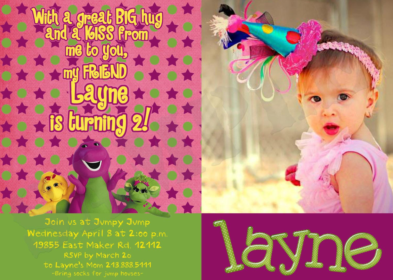 Barney Birthday Party Invitations
