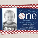 Baseball Themed 1st Birthday Party Invitations