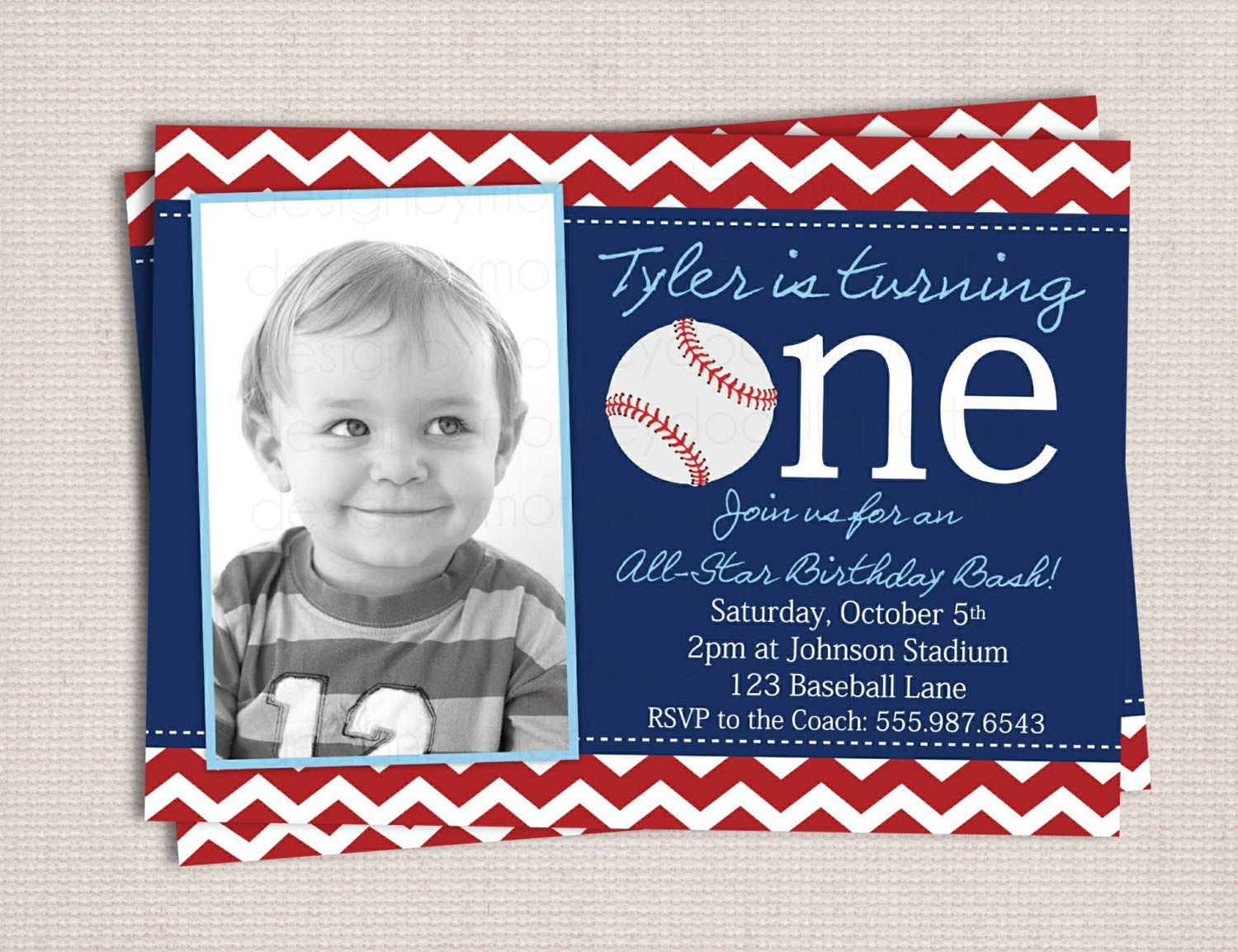 Baseball Themed 1st Birthday Party Invitations Home Party Ideas