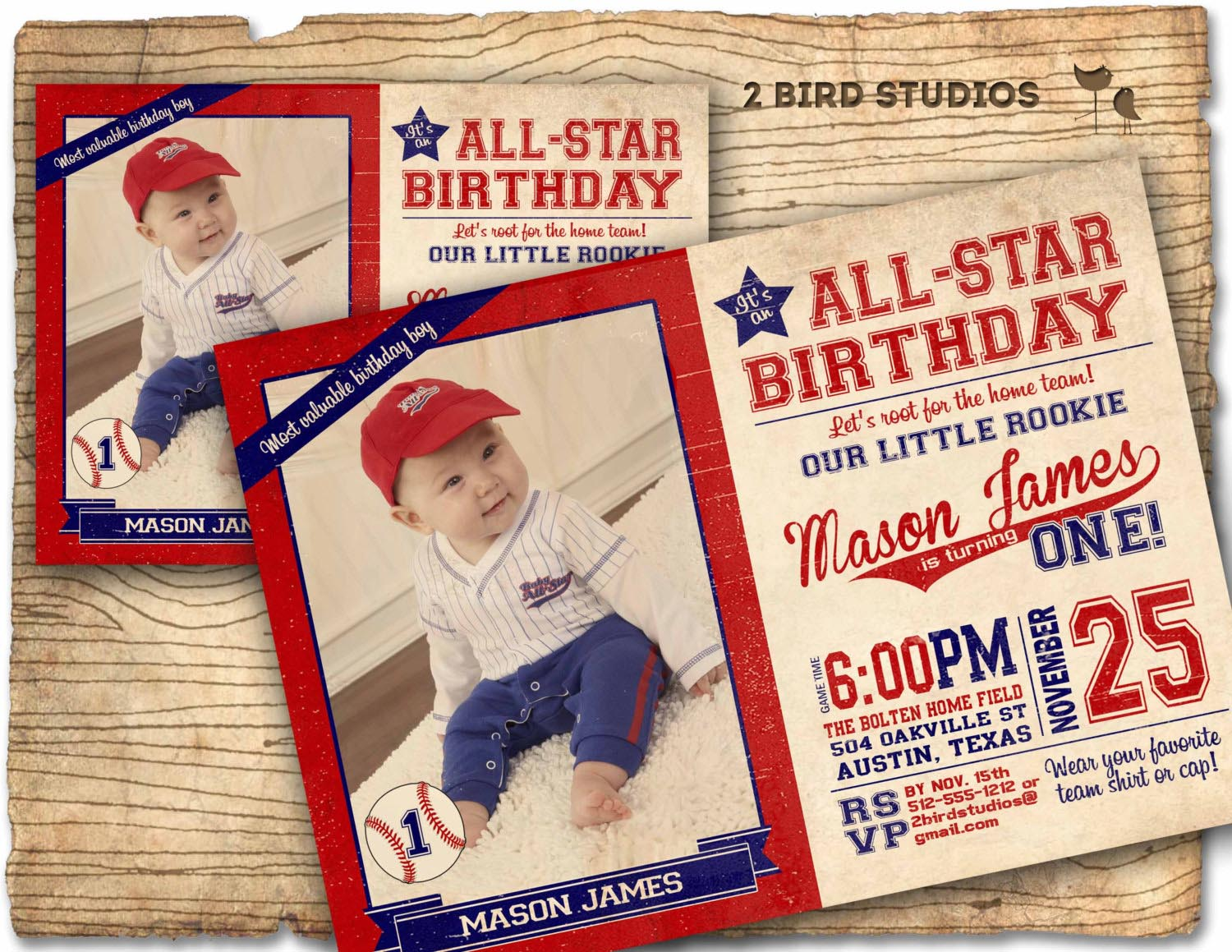 Baseball Themed Birthday Party Invitations