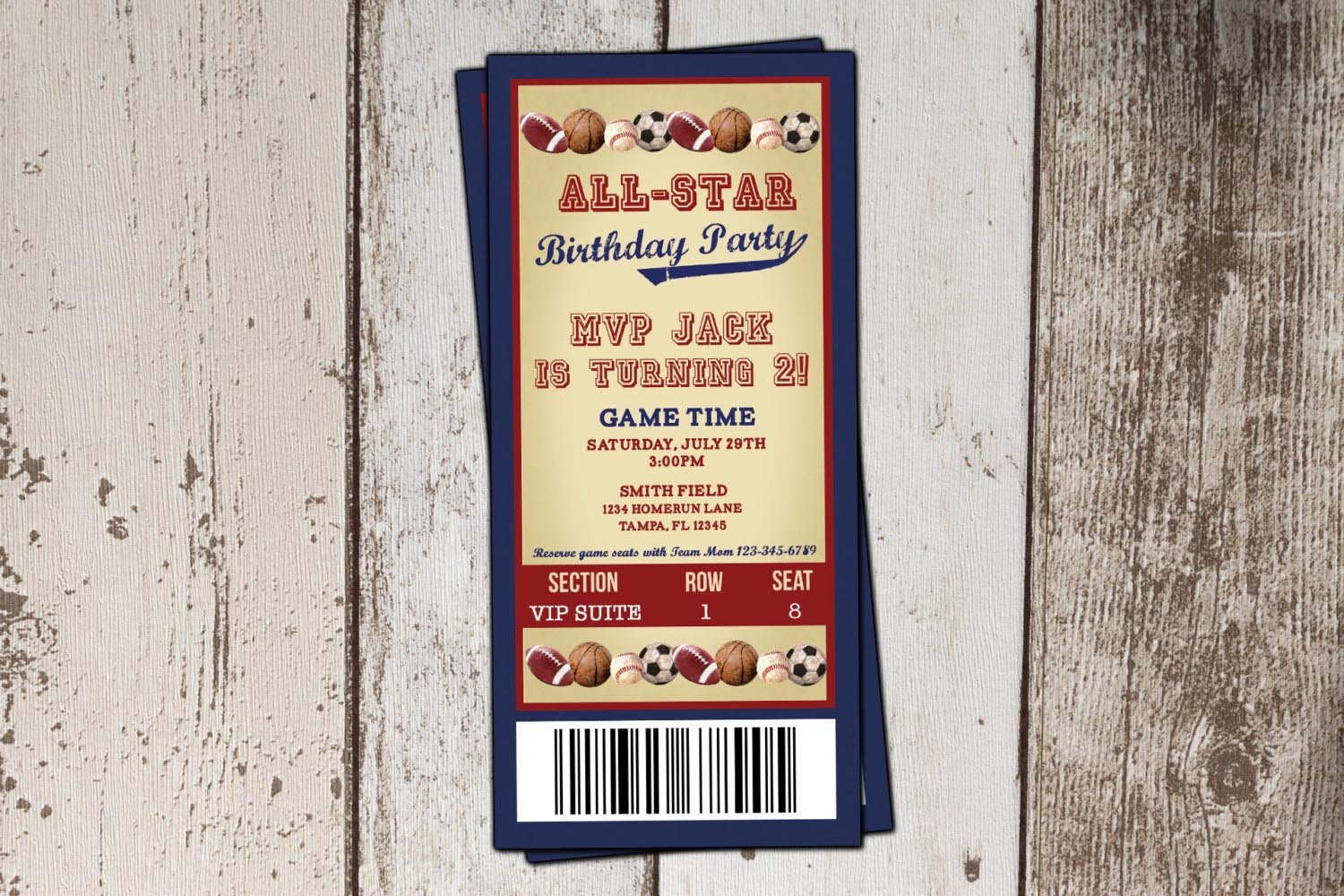 Baseball Ticket Birthday Party Invitations