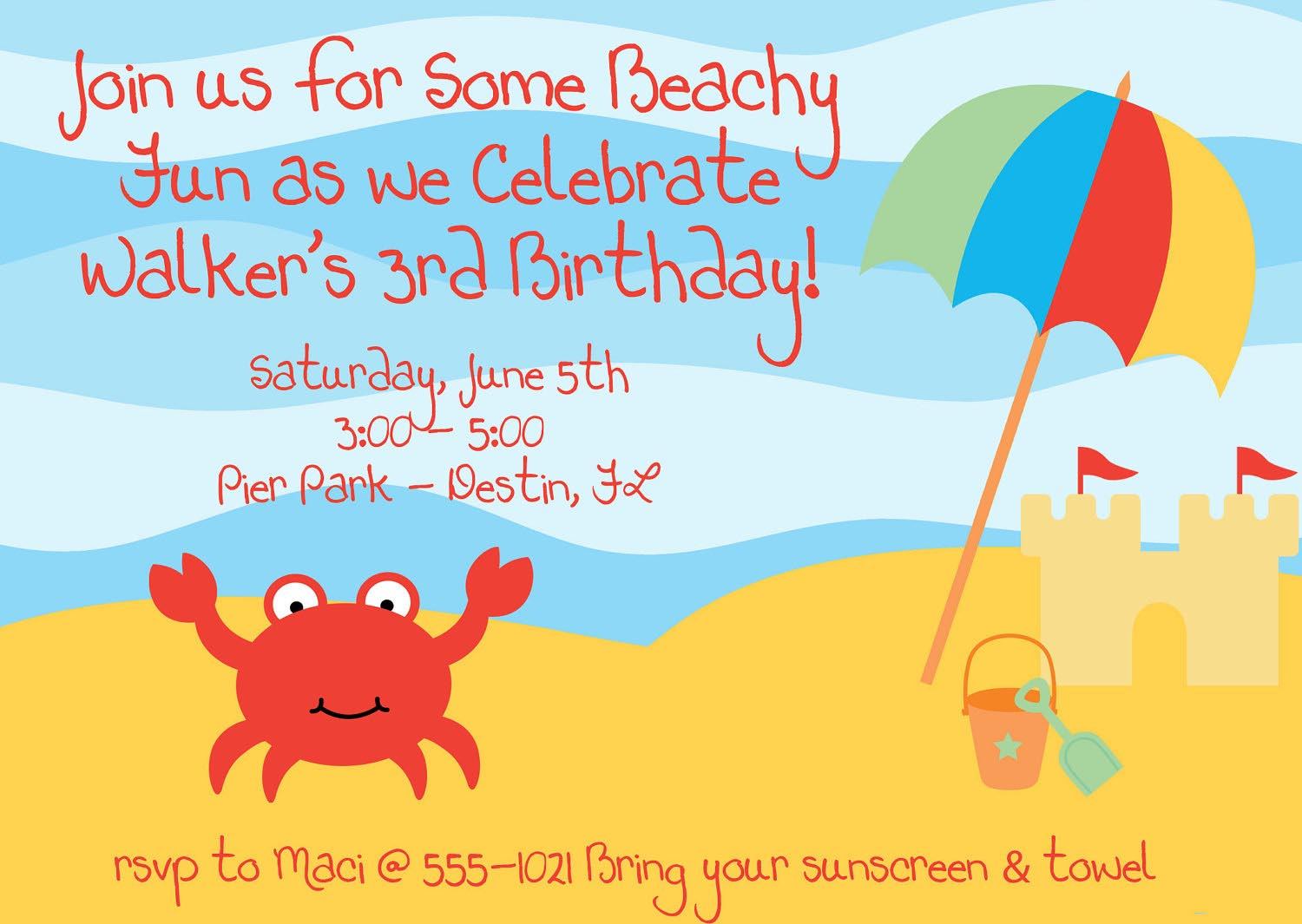 Beach Themed Birthday Party Invitations