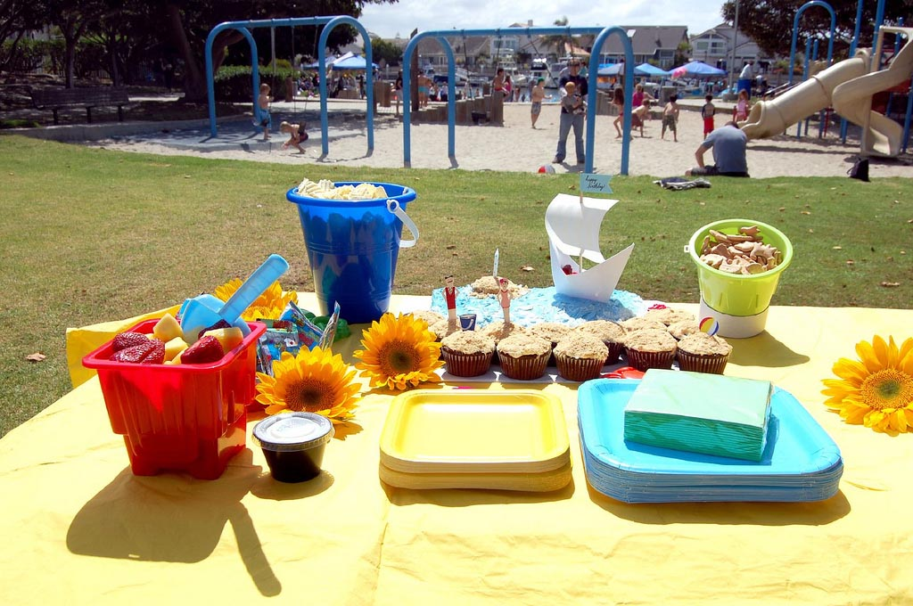 Beach themed first birthday party home ideas