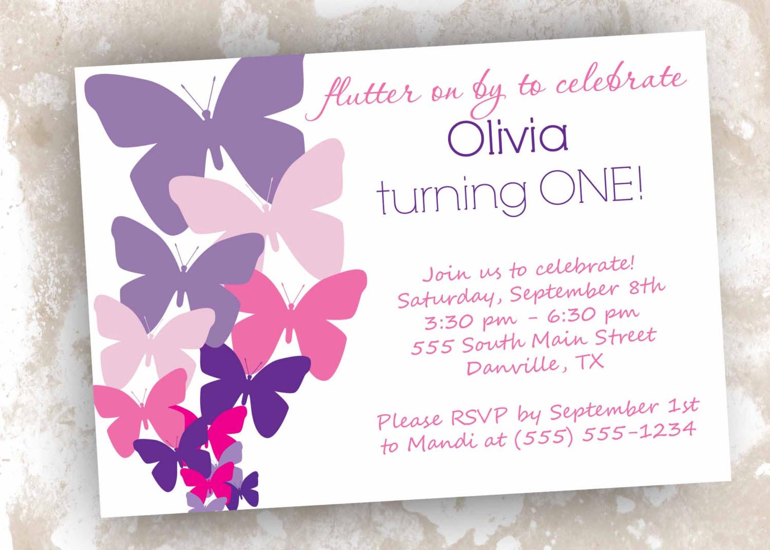 Butterfly Birthday Party Invitations