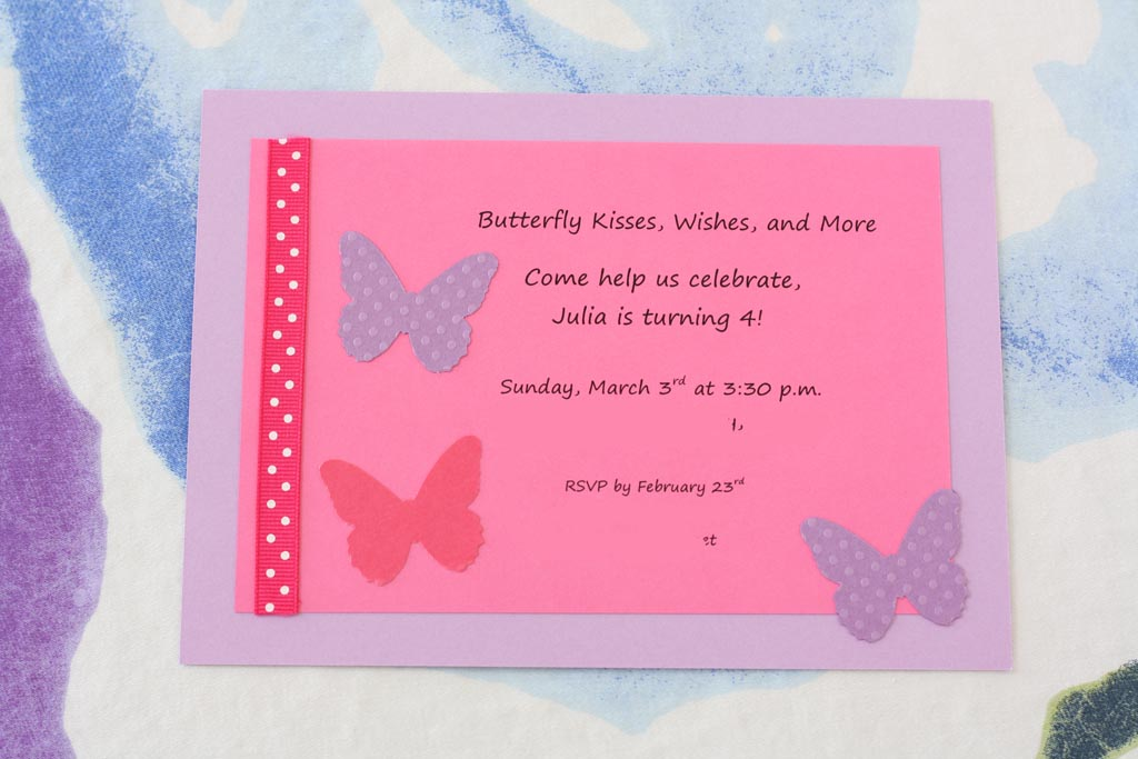 Butterfly Themed Birthday Party Invitations