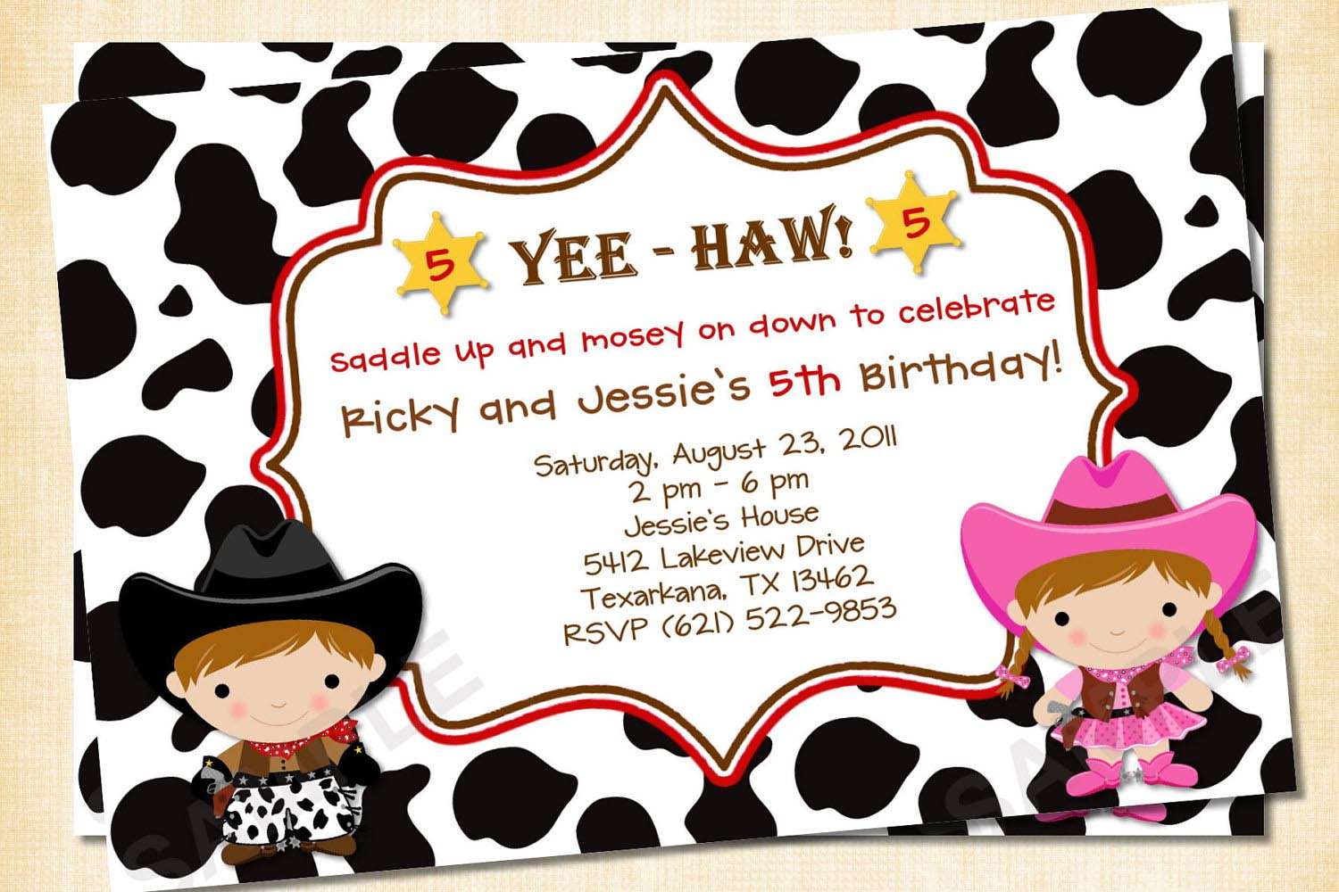 Cowboy and Cowgirl Birthday Party